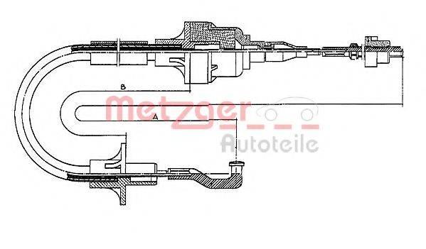 METZGER 11256 Трос, управление сцеплением