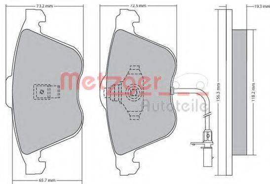 METZGER 1170268 Комплект тормозных колодок, дисковый тормоз