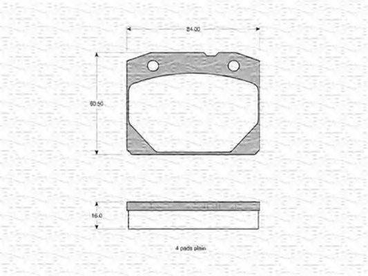 Комплект тормозных колодок, дисковый тормоз MAGNETI MARELLI 363702160658
