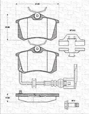 MAGNETI MARELLI 363702161257 Комплект тормозных колодок, дисковый тормоз
